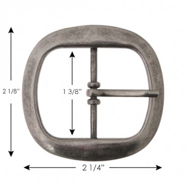 "2 1/8"" Rounded Square Metal Buckle"