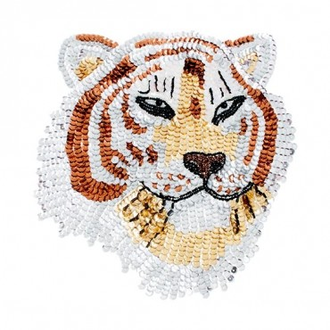 Iron On Sequin Tiger Patch
