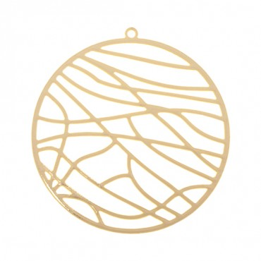 37MM GOLD ABSTRACT CIRCLE MEDALLION