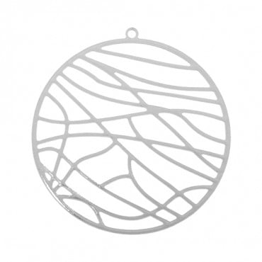 37MM SILVER ABSTRACT CIRCLE MEDALLION