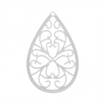 40MM X 25MM FILIGREE TEARDROP PENDANT