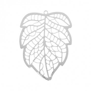 "1 1/2"" Silver Filigree Leaf Pendant"