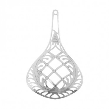 SILVER CROSSHATCH TEARDROP PENDANT