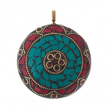 Round Turquoise Mosaic Pendant