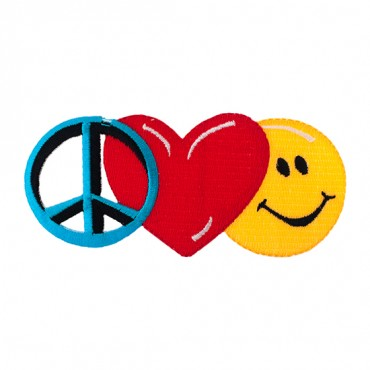 """4 5/8"""" (118mm) Peace Love and Happiness Applique"""