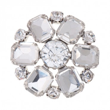 Brilliance Baguette Petal Rhinestone Button