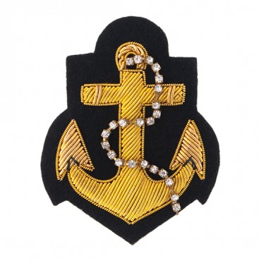 Bullion Anchor with Rhinestone Chain Embellishment Applique