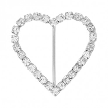 Delicate Rhinestone Heart Buckle