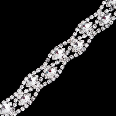 "3/8"" Diamond Double Row Rhinestone Trim"