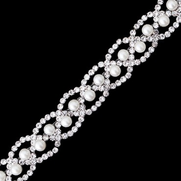 "3/4"" Pearl Scalloped Rhinestone Trim"