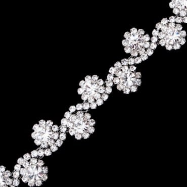 "1/2"" Flower Scroll Rhinestone Trim"