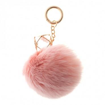 """3"""" Rabbit Pompom with Crystal Charm Keychain"""