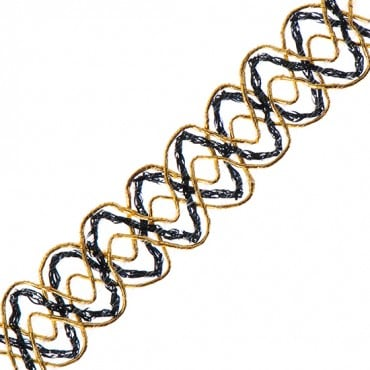 "3/4"" Two-Tone Zig Zag Metallic Braid"