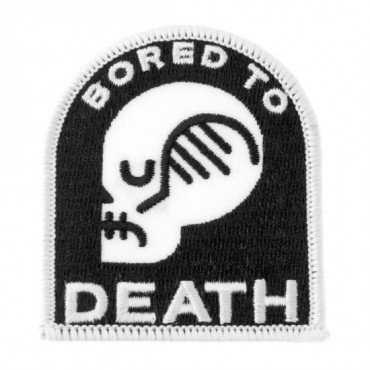 """Iron On """"Bored to Death"""" Skull Patch"""