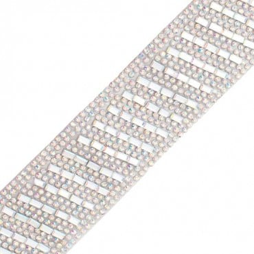 Diagonal Stripe Iron-On Rhinestone Trim