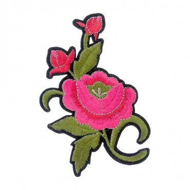 Iron On Pink Rose Patch