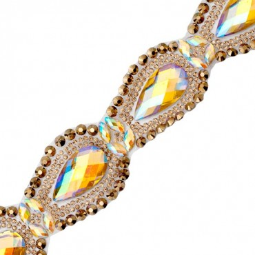 Colored Teardrop Rhinestone Trim