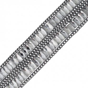 2-Row Iron-On Baguette Rhinestone Trim
