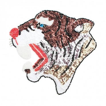 Iron On Roaring Sequin Tiger Patch