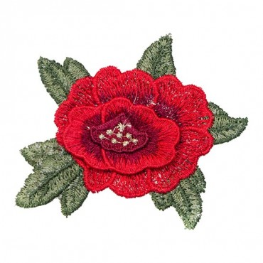 Iron On Small Red Peony Patch