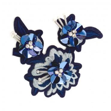 "3 3/4"" Iron On Sequin Flower Applique"