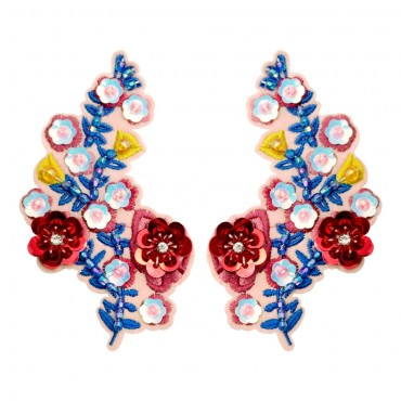 """4 3/4"""" Iron On Beaded Flower Patch Pair"""