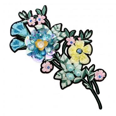 "7 1/4"" Iron On Beaded Flower Applique"