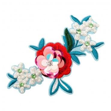 "6"" Iron On Beaded Flower Applique"