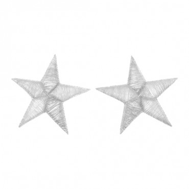 "Iron On 2 ½"" Embroidered Metallic Silver Star Patches"