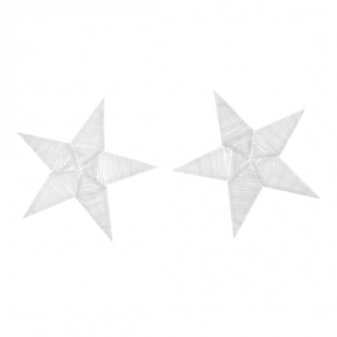 "Iron On 2 ½"" Embroidered White Star Patches"
