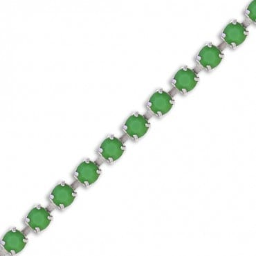 RHINESTONE CHAINS - SILVER/GREEN
