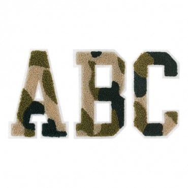 "Iron On 4 ½"" Camouflage Chenille Varsity Letters"