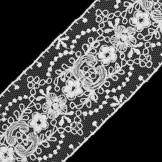 """38mm Venise Lace 1 1//2/"""" Brown with Sequins Floral 5 Yards"""