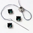 8MM X 8MM SWAROVSKI CRYSTAL SQUARE  W/SETTING