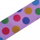 "1.5"" GROSGRAIN PARTY COLORS POLKA DOT RIBBON"