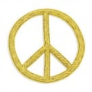 Sew On Bullion Peace Sign Crest Applique