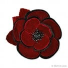 "4"" VELVET TWO-TONE CAMELLIA FLOWER PIN"
