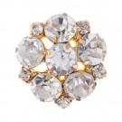 Floral Cluster Rhinestone Button