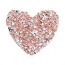 Iron On Rose Gold Small Heart Jeweled Patch