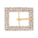 "1 3/4"" x 1 1/2"" 3-Row Rectangle Rhinestone Buckle"