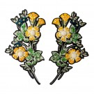 "7"" Iron On Beaded Flower Applique Pair"